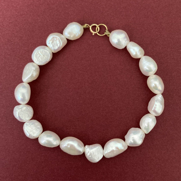 دستبند طلا 18 عیار زنانه الماسین آذر مدل مروارید باروک کد SADEH01