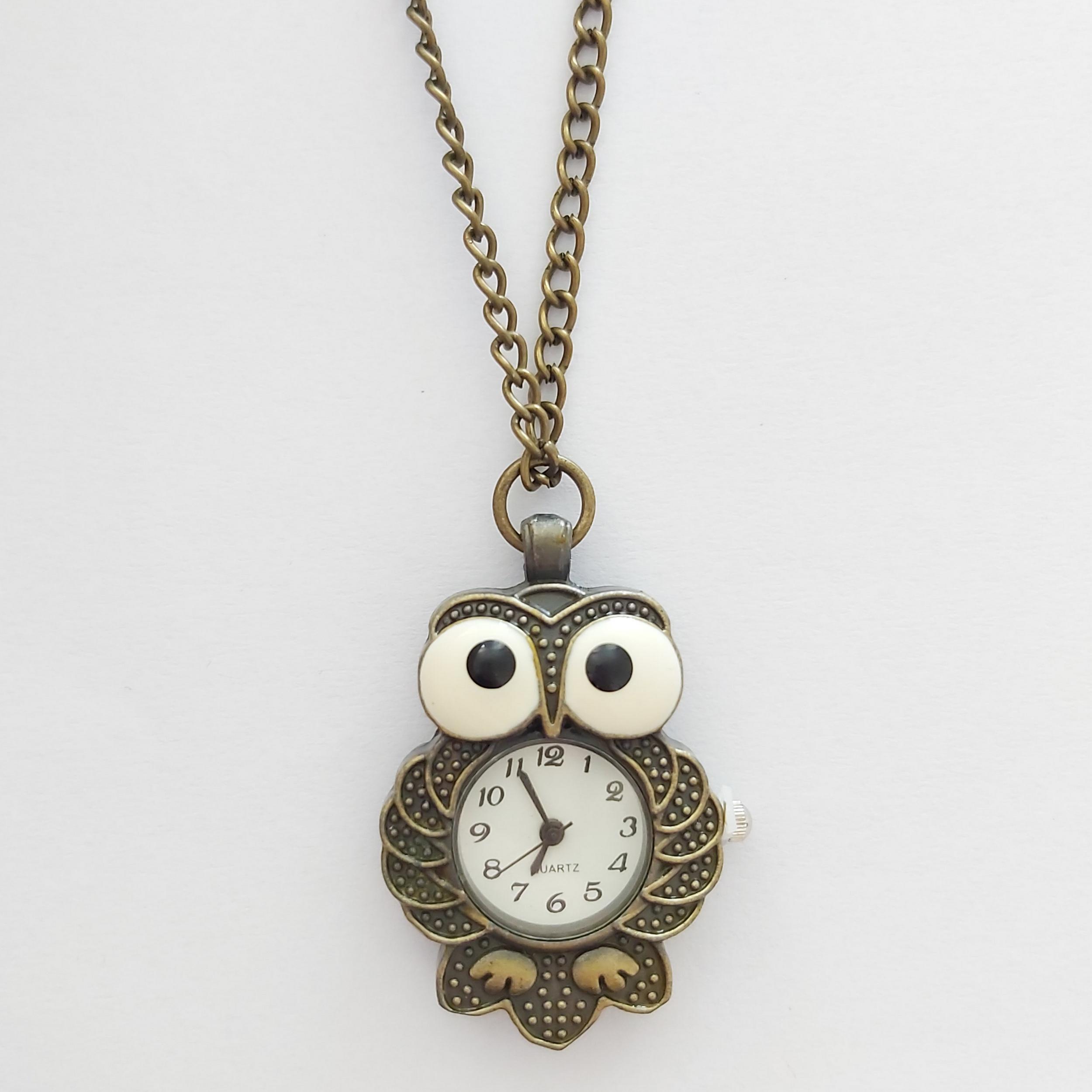 تصویر ساعت گردنبندی زنانه طرح جغد کد owl115