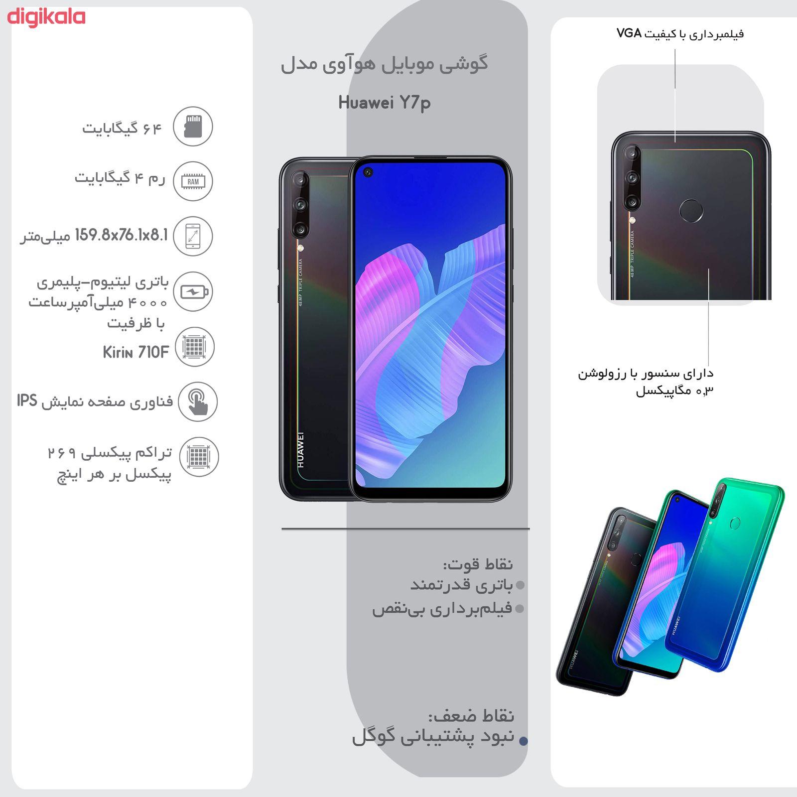 گوشی موبایل هوآوی مدل Huawei Y7p ART-L29 دو سیم کارت ظرفیت 64 گیگابایت به همراه کارت حافظه هدیه main 1 27