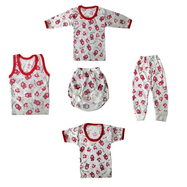 ست 5 تکه لباس نوزادی طرح گربه کد F5K-15