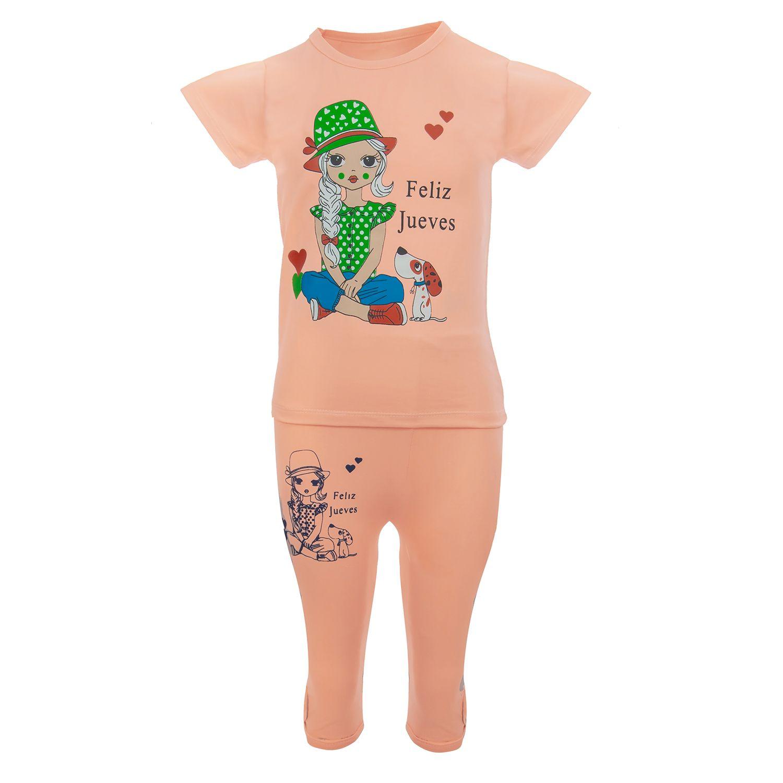 ست تیشرت و شلوارک دخترانه طرح FelizJueves کد 0757 -  - 2
