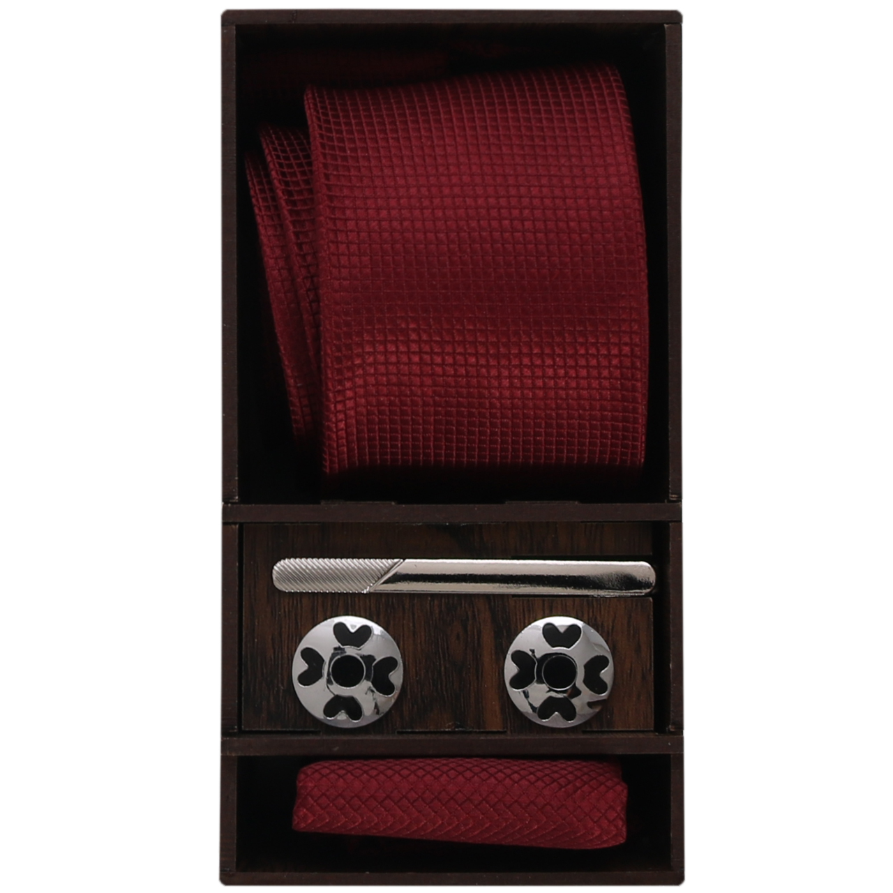 ست کراوات و گیره کراوات و دستمال جیب و دکمه سردست مردانه مدل PJ-103483                     غیر اصل
