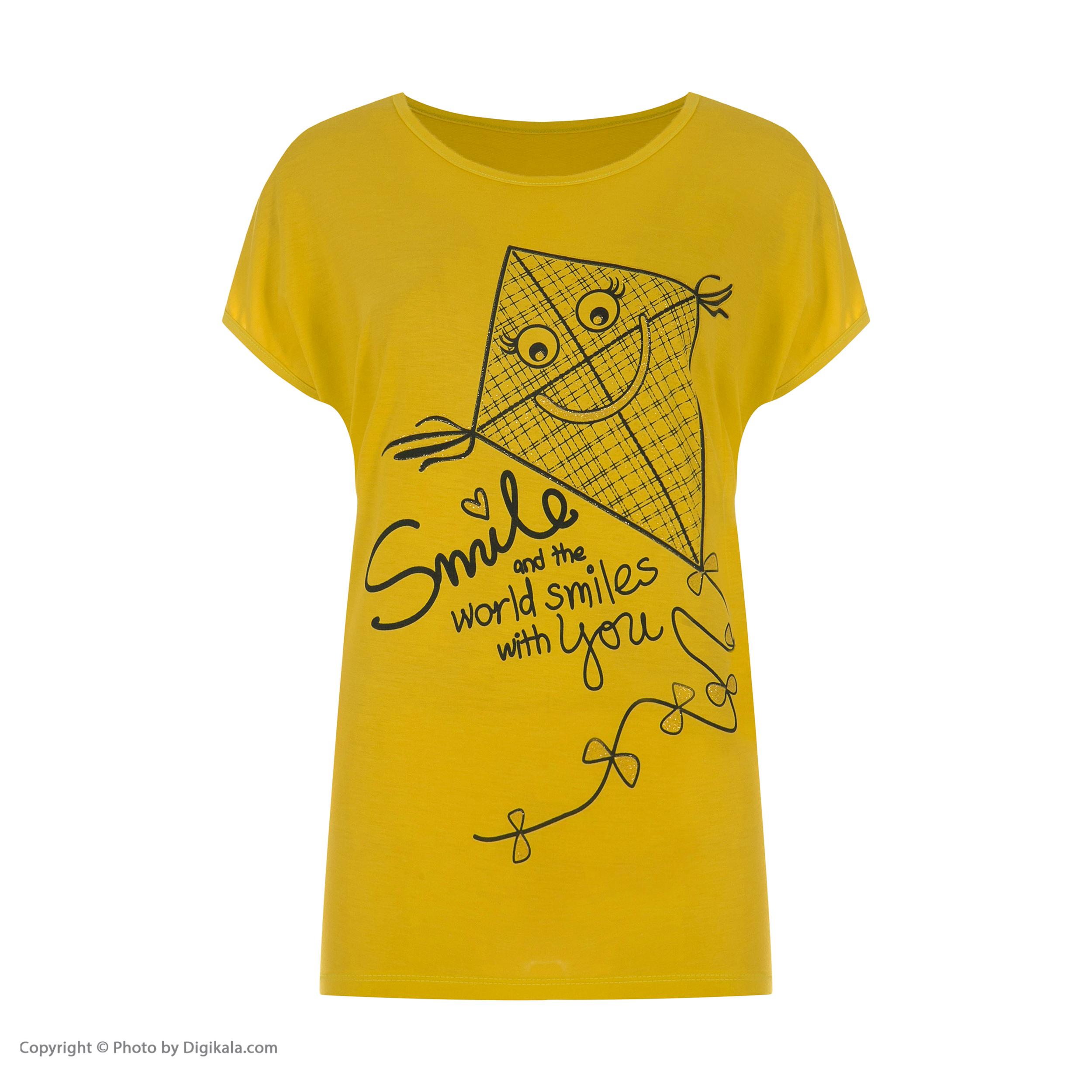 تی شرتآستین کوتاه زنانه طرح بادبادک کد 0128 رنگ زرد