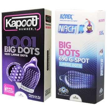 کاندوم ناچ کدکس مدل BIG DOTS بسته 10 عددی به همراه کاندوم کاپوت مدل BIG DOTS بسته 10 عددی