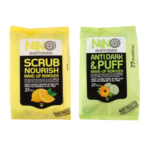 دستمال مرطوب نینو مدل Lemon بسته 27 عددی به همراه دستمال مرطوب نینو مدل Cucumber بسته 27 عددی
