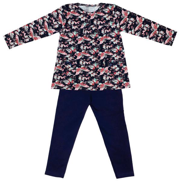 ست تی شرت و شلوار دخترانه طرح پروانه کد 3069 رنگ سرمه ای