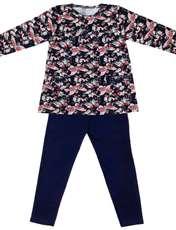 ست تی شرت و شلوار دخترانه طرح پروانه کد 3069 رنگ سرمه ای -  - 2