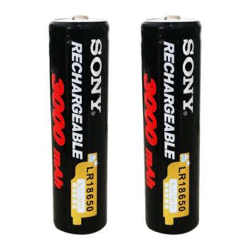 باتری لیتیوم-یون قابل شارژ سونی کد 18650 ظرفیت 3000 میلی آمپرساعت بسته 2 عددی