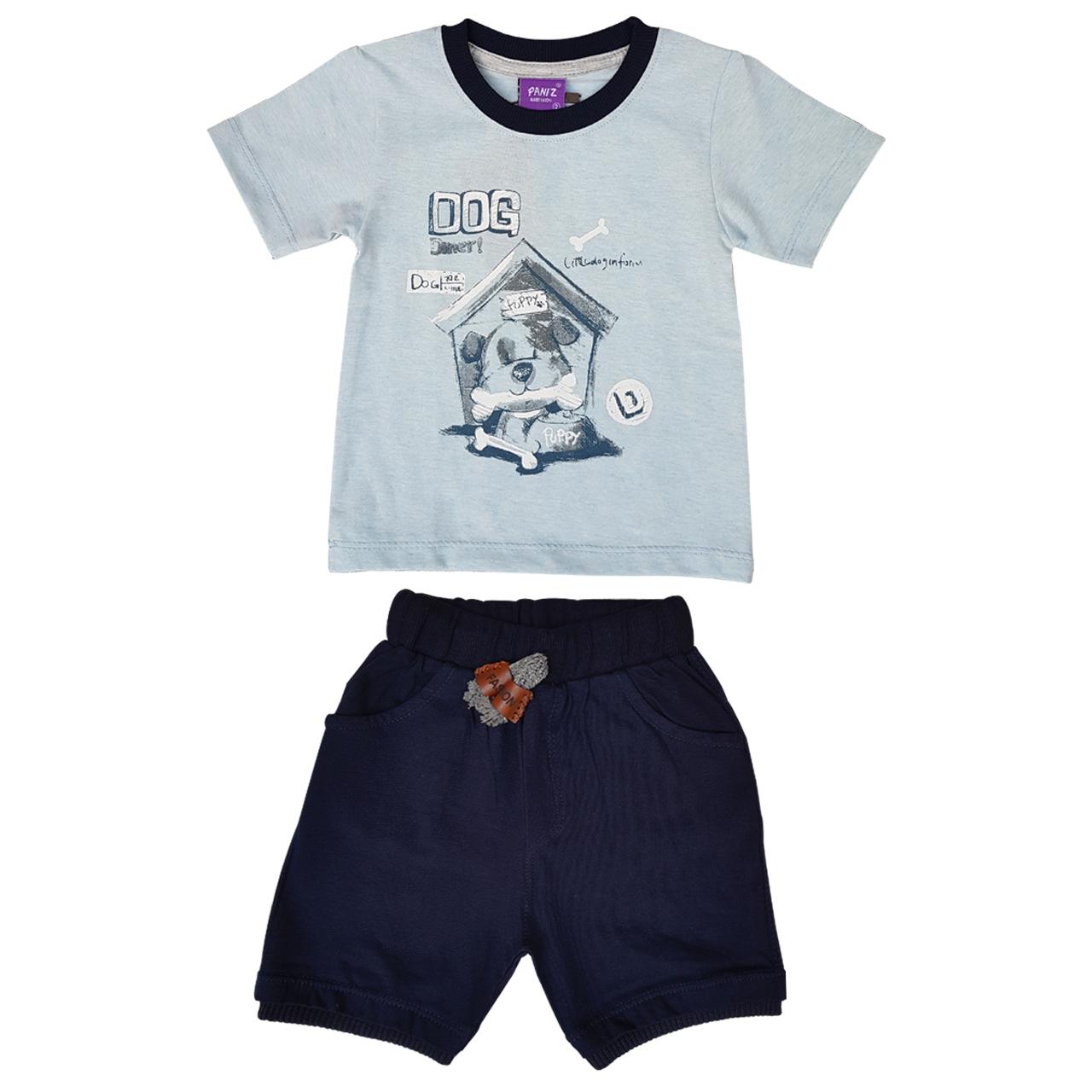 ست تیشرت و شلوارک نوزادی پسرانه کد PE