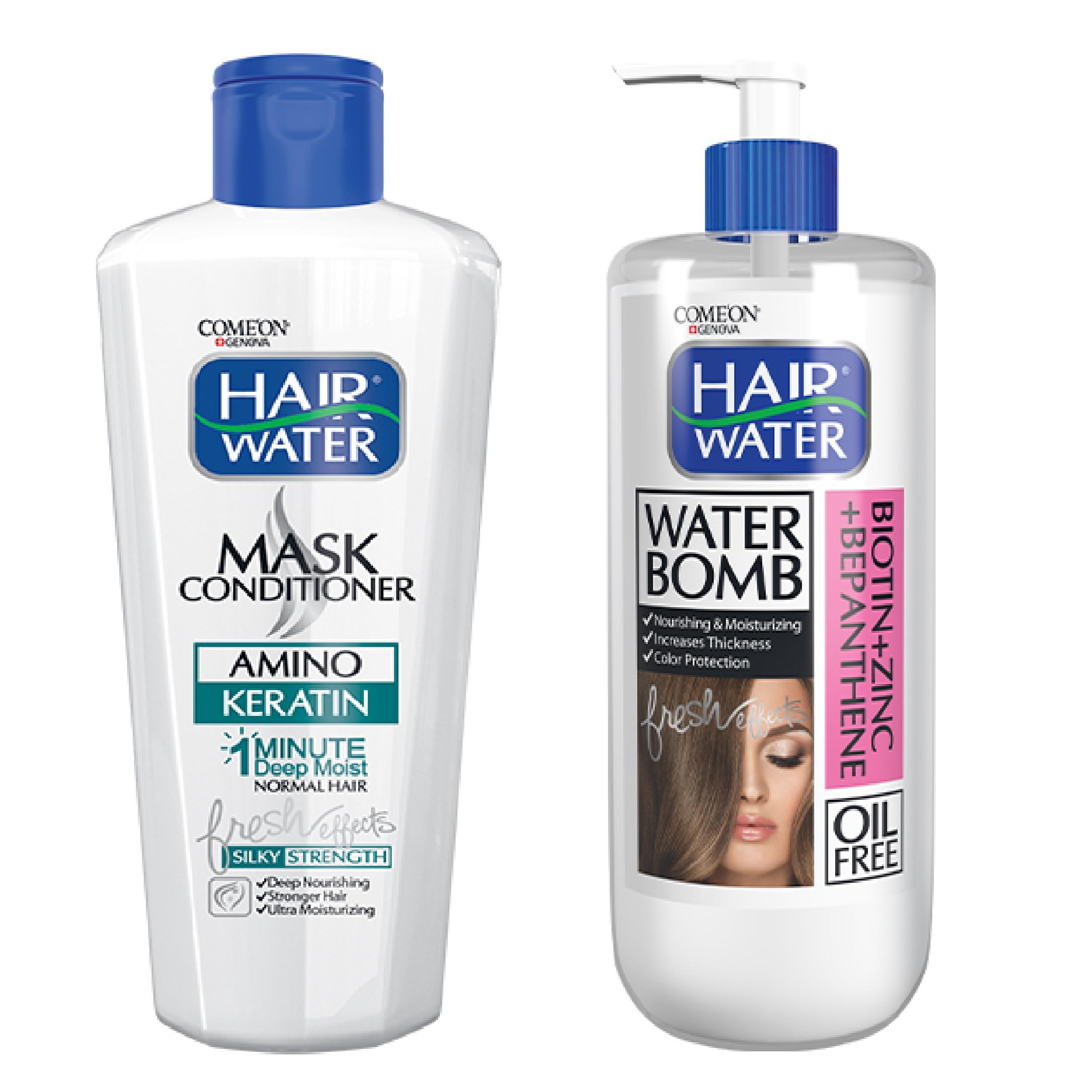 ماسک مو کامان مدل Keratin حجم 400 میلی لیتر به همراه کرم آبرسان مو کامان مدل Bio Ten Hair Water حجم 400 میلی لیتر