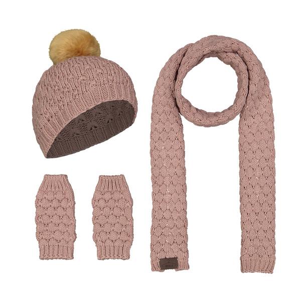 ست کلاه و شال گردن و دستکش بافتنی زنانه رویا مدل 1001-02