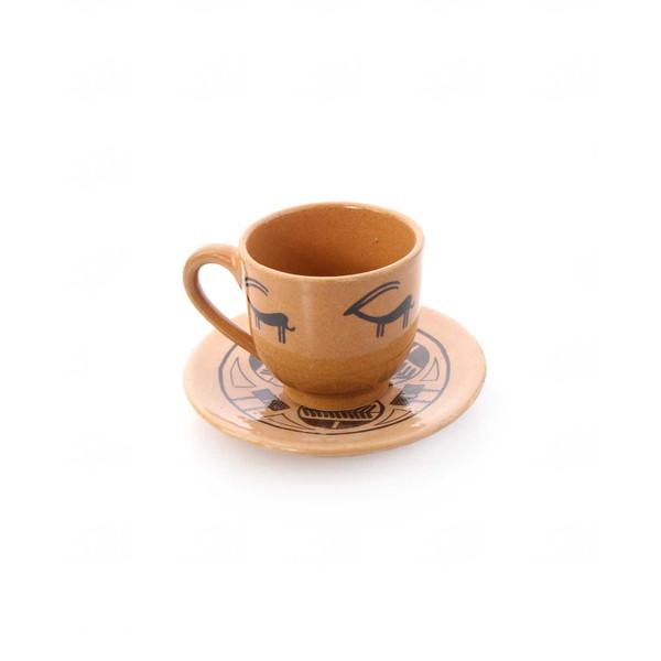فنجان و نعلبکی سفالی آرانیک مدل شوش باستان کد 1007800034