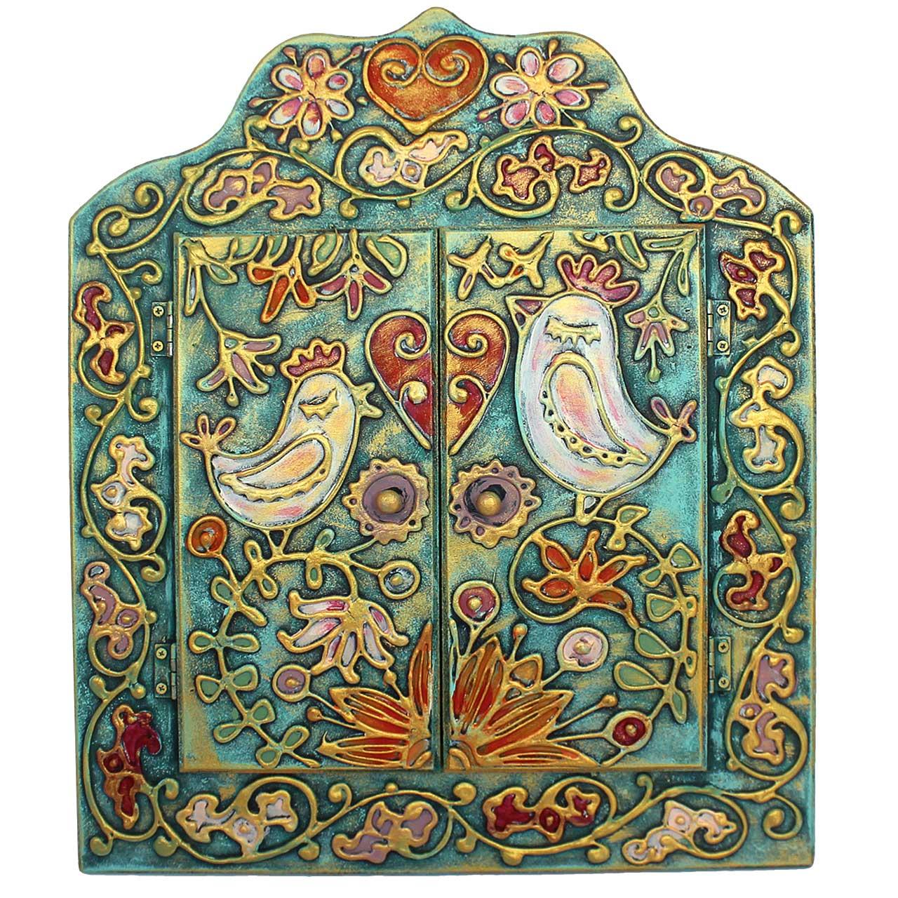 آینه دست نگار طرح باغ پرندگان کد 20-19