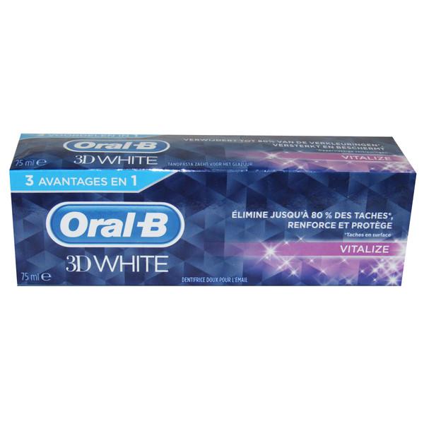 خمیر دندان اورال-بی مدل 3D WHITE مدل VITALIZE حجم 75 میلی لیتر