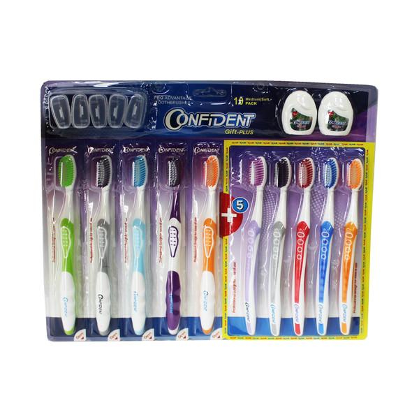 مسواک کانفیدنت مدل Gift Plus با برس نرم بسته 5 عددی به همراه مسواک با برس متوسط  بسته 5 عددی و نخ دندان