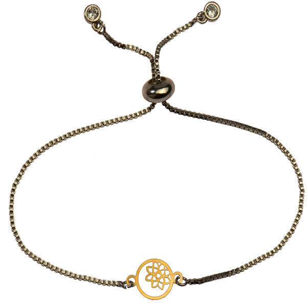 دستبند طلا 18 عیار دخترانه کرابو طرح گل و ستاره مدل Krd1151