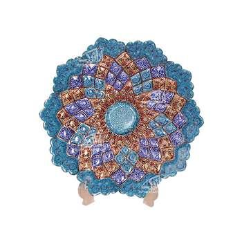 بشقاب مینا کاری گرد آرانیک رنگ آبی  طرح آفتابگردان مدل 1000100018
