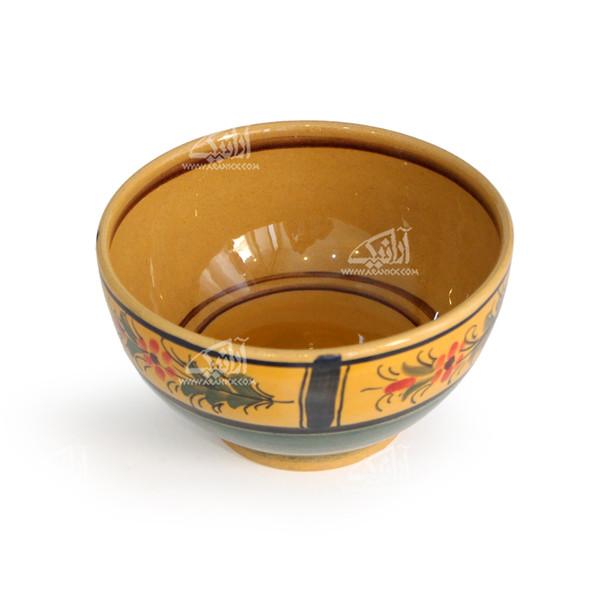 کاسه سفالی آرانیک نقاشی زیر لعابی رنگ قهوه ای روشن طرح گل مدل  1004000045