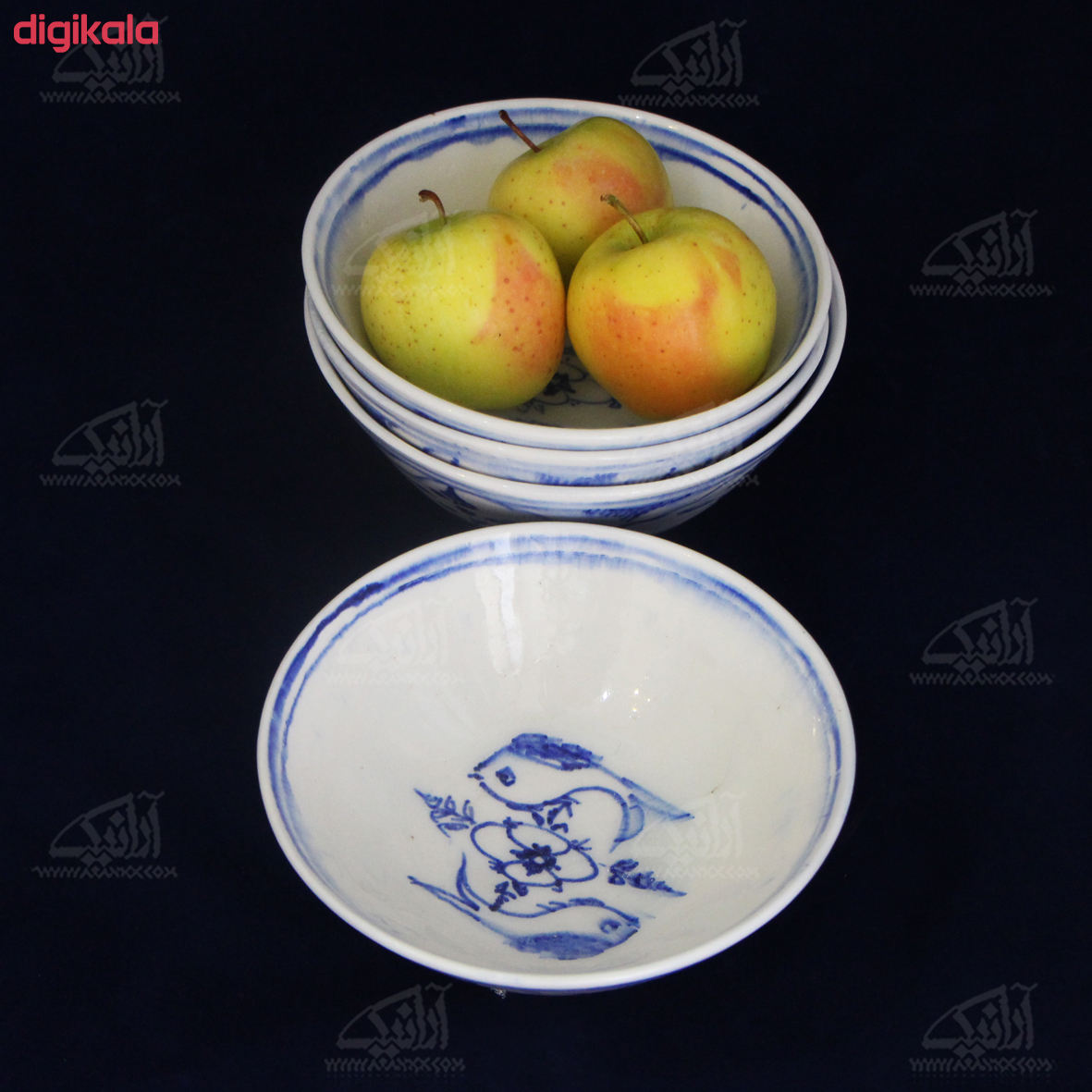 کاسه بشقاب سفالی نقاشی زیر لعابی    رنگ سفید  طرح ماهی  مدل 1003700008 main 1 9