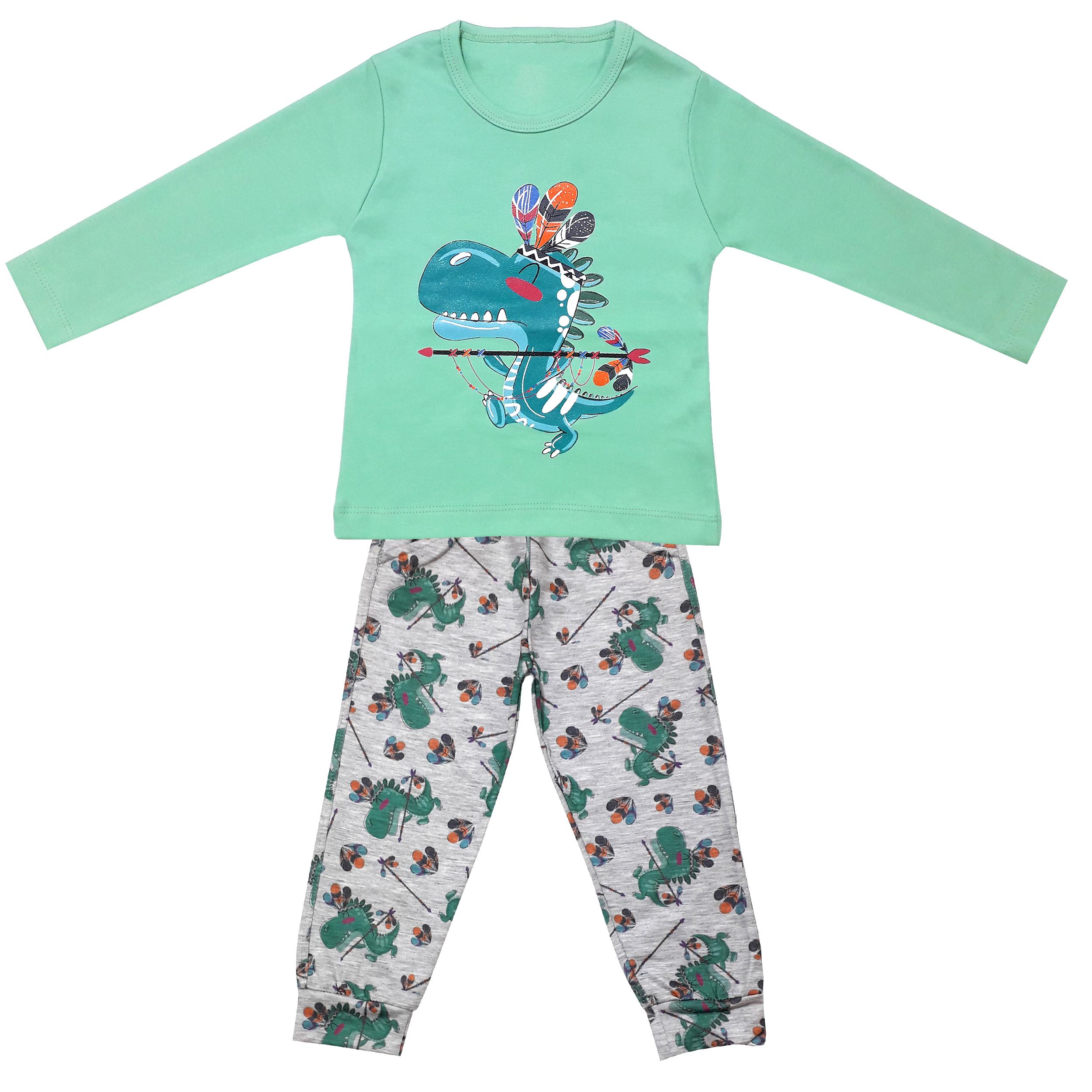 ست تی شرت و شلوار پسرانه طرح دایناسور کد 3276 رنگ سبز