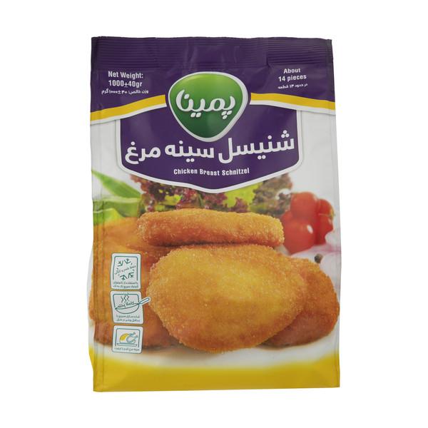 شنیسل سینه مرغ مهمانی منجمد پمینا مقدار 1000 گرم