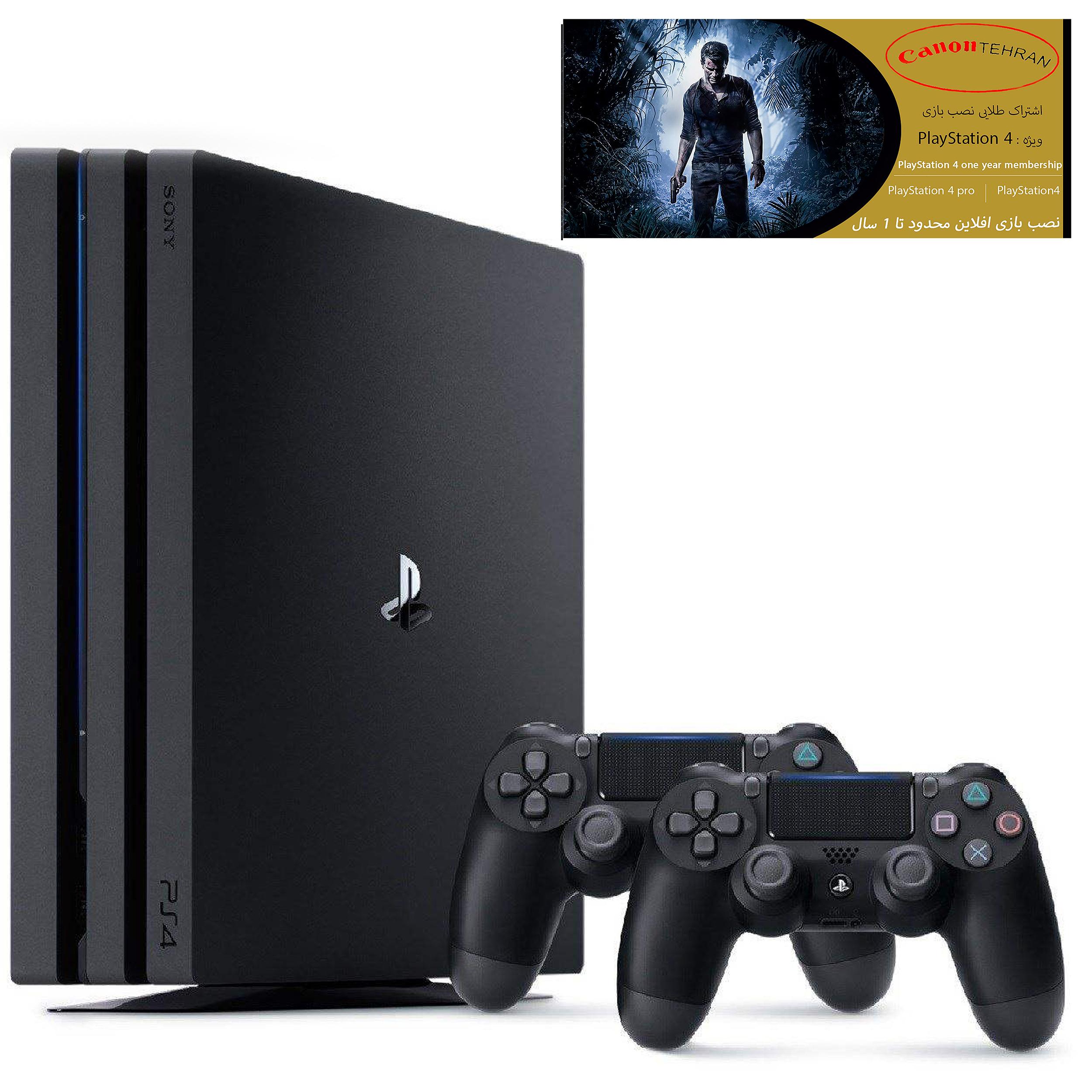 کنسول بازی سونی مدل Playstation 4 Pro ریجن 2 کد CUH-7216B ظرفیت 1 ترابایت به همراه 20 عدد بازی و دسته اضافی