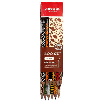 مداد مشکی آریا مدل ZOO SET کد L3035 بسته 12 عددی