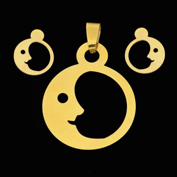 نیم ست طلا 18 عیار دخترانه طلای مستجابی مدل ماه کد 67125
