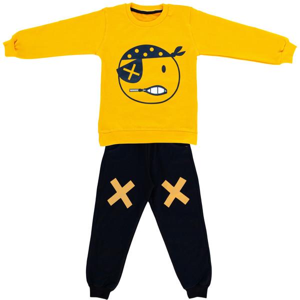 ست سویشرت و شلوار پسرانه طرح دزد دریایی کد 333 رنگ زرد