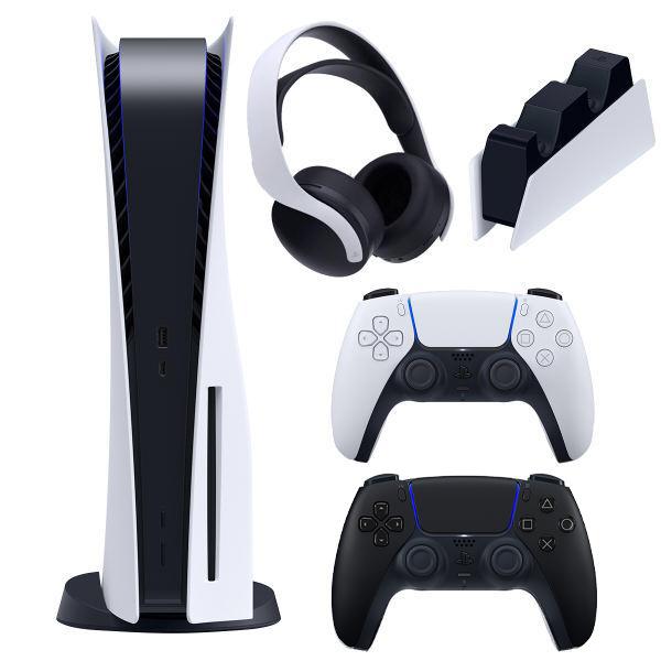 مجموعه کنسول بازی سونی مدل PlayStation 5 Drive ظرفیت 825 گیگابایت به همراه هدست و دسته اضافه و پایه شارژر