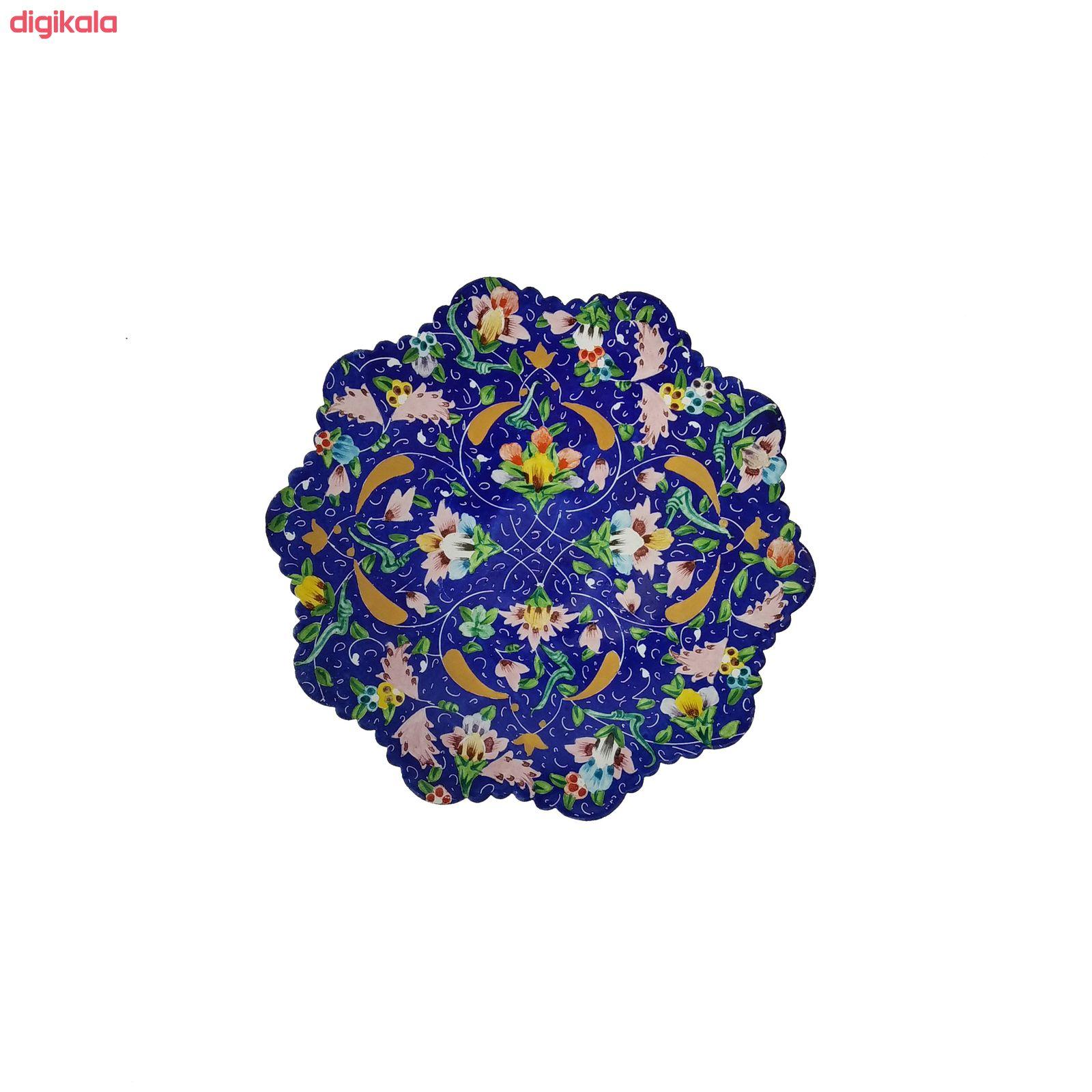 بشقاب میناکاری  طرح گل پنبه ای مدل b1602