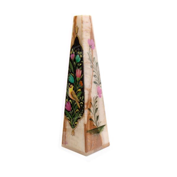 گلدان سنگ مرمر   مشکی طرح گل و مرغ  مدل 1016000011
