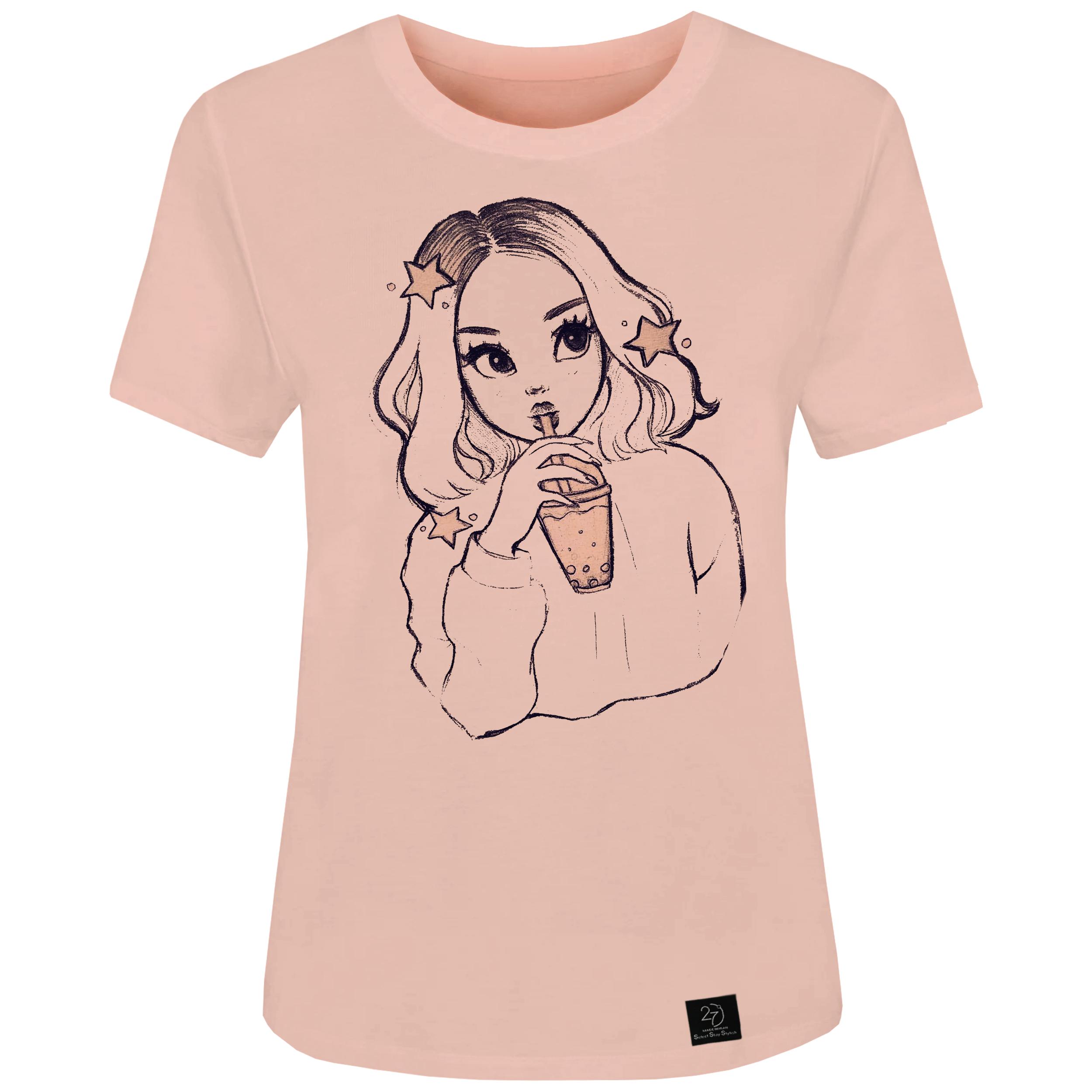 راهنمای  خرید اینترنتی تی شرت زنانه ۲۷ مدل CUTE GIRL کد J27 رنگ گلبهی