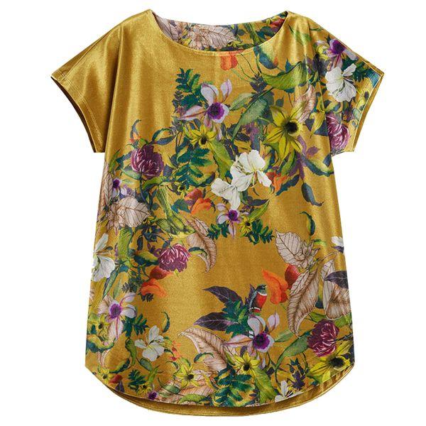 تی شرت آستین کوتاه زنانه نکست مدل Golden flowers