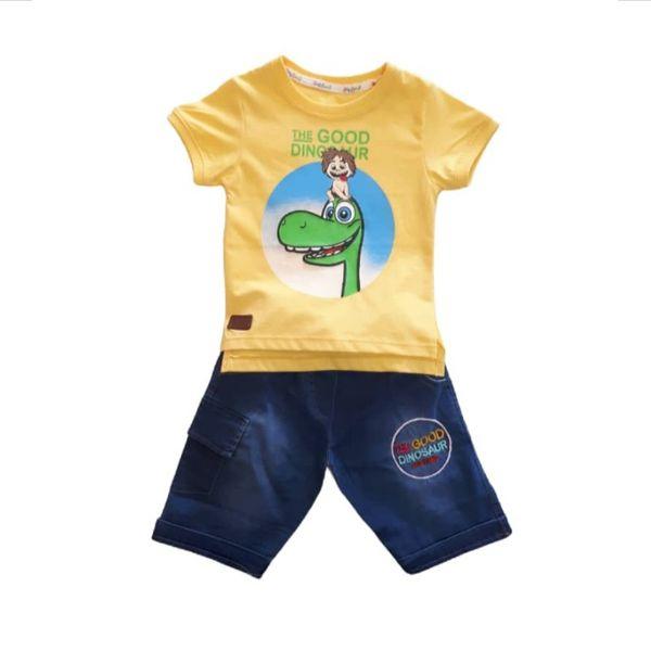 ست تی شرت و شلوارک پسرانه مدل دایناسور