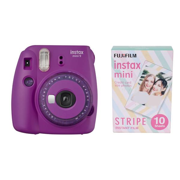دوربین عکاسی چاپ سریع فوجی فیلم مدل Instax Mini 9 Clear به همراه یک بسته فیلم مدل instax mini STRIPE بسته ۱۰ عددی