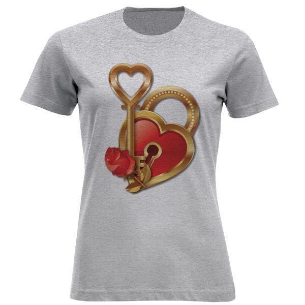 تی شرت آستین کوتاه زنانه مدل قلب و کلید F813