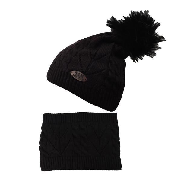ست کلاه و شال گردن بچگانه سام کد 151-1P رنگ مشکی