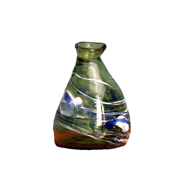 گلدان مینیاتوری شیشه گری با حرارت مستقیم  سبز طرح صنم مدل 1015900034