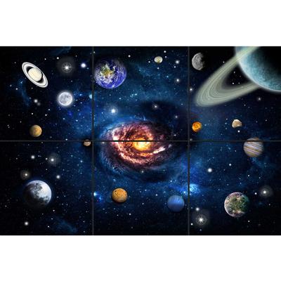 تایل سقفی آسمان مجازی طرح کهکشان و سیاره ها کد 0500 سایز 60x60 سانتی متر مجموعه 6 عددی
