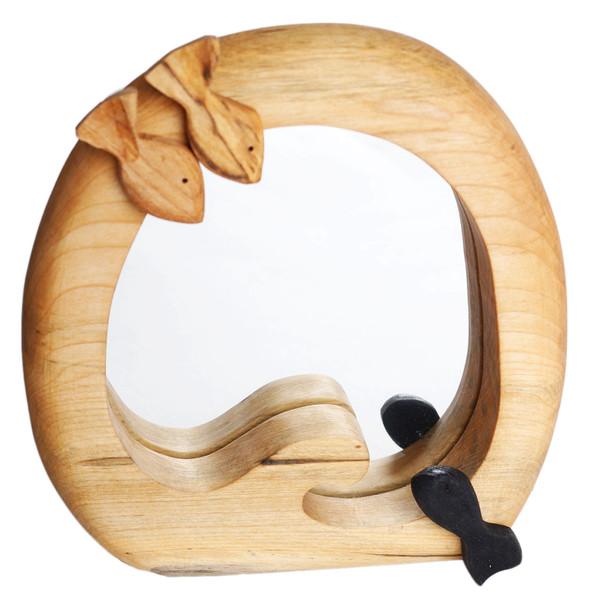 آیینه چوبی کارکیا مدل ماهی سیاه کوچولو کد W25