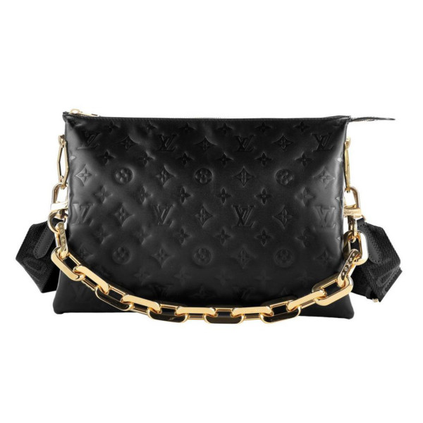 کیف دوشی زنانه لویی ویتون مدل دو بند پارچه ای و زنجیر