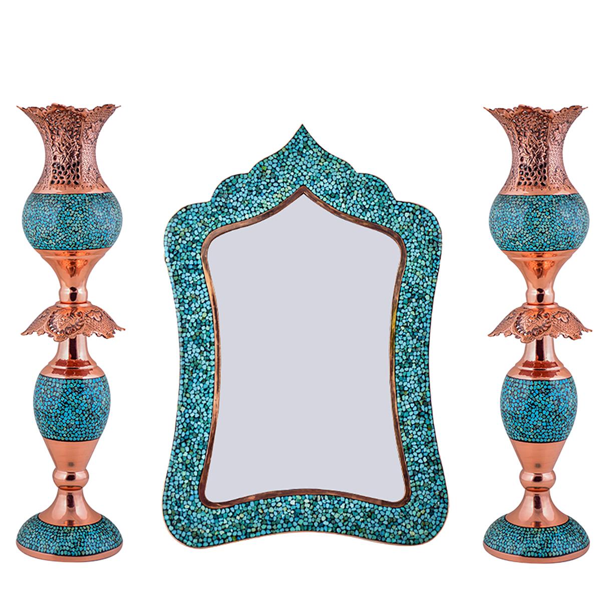 آینه و شمعدان فیروزه کوبیآقاجانی مدل عروس