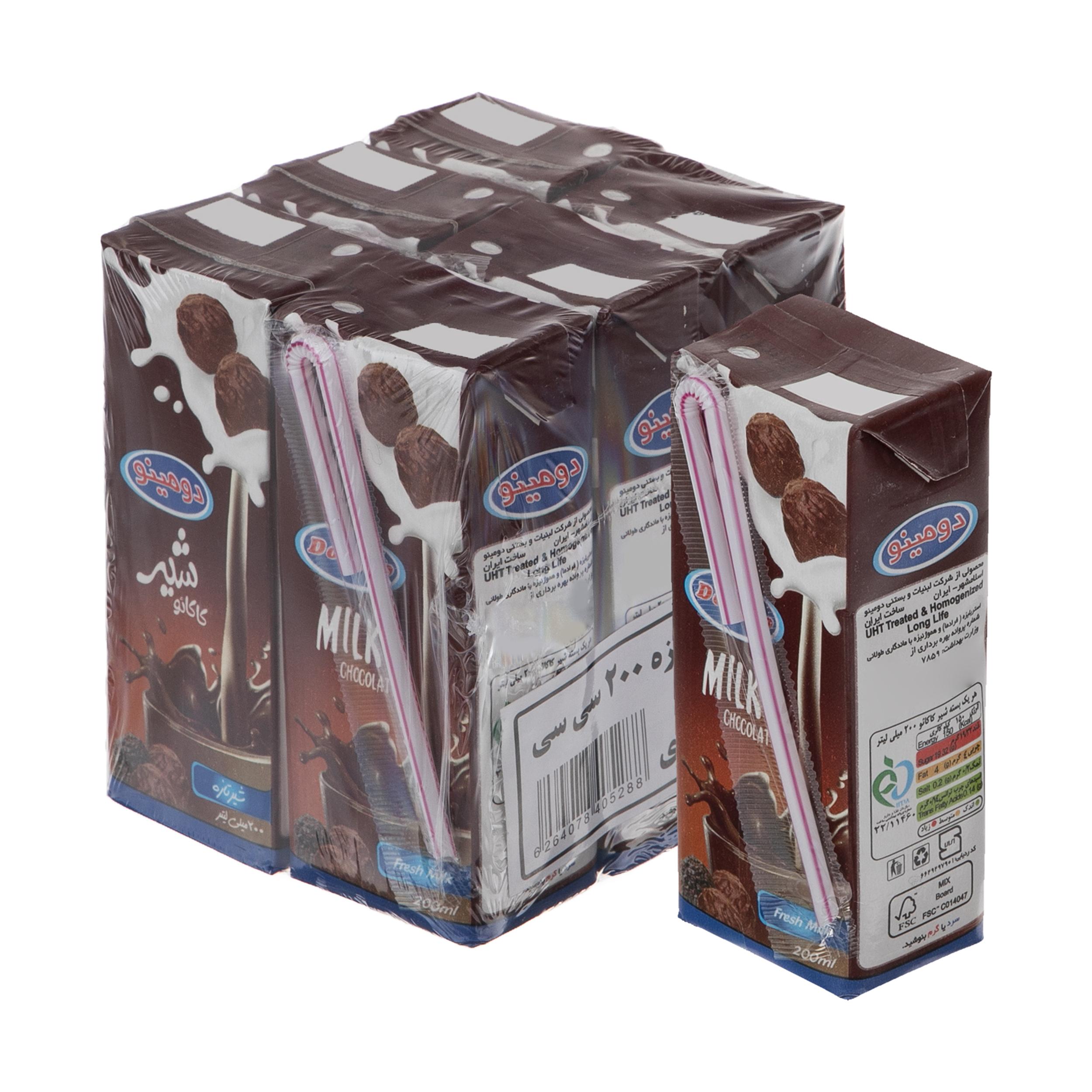 شیر کاکائو دومینو - 0.2 لیتر بسته 6 عددی