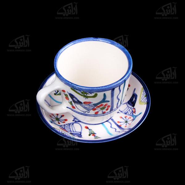 فنجان و نعلبکی سفالی نقاشی زیر لعابی سفید طرح پرنده مدل 1007800003