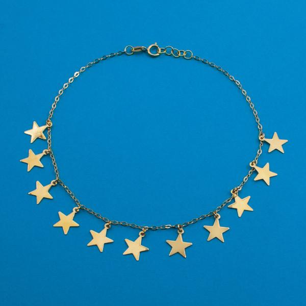 پابند طلا 18 عیار زنانه دُرج طرح ستاره مدل DA04