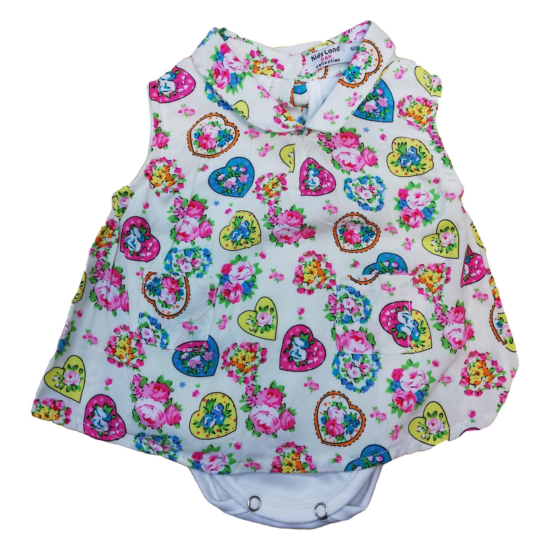پیراهن نوزادی دخترانه طرح قلب کد 00171626