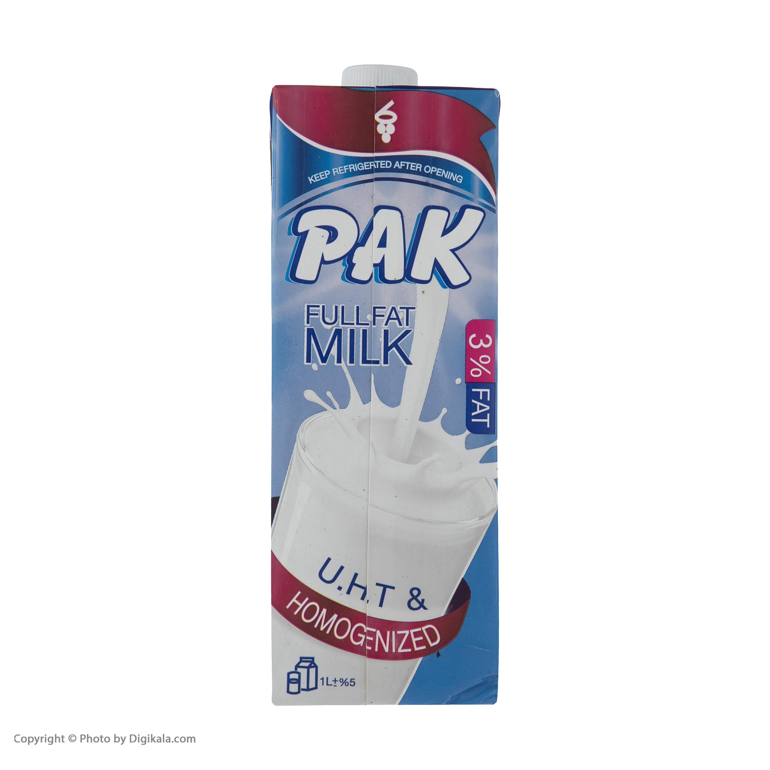 شیر تازه پاستوریزه پر چرب پاک حجم 1 لیتر