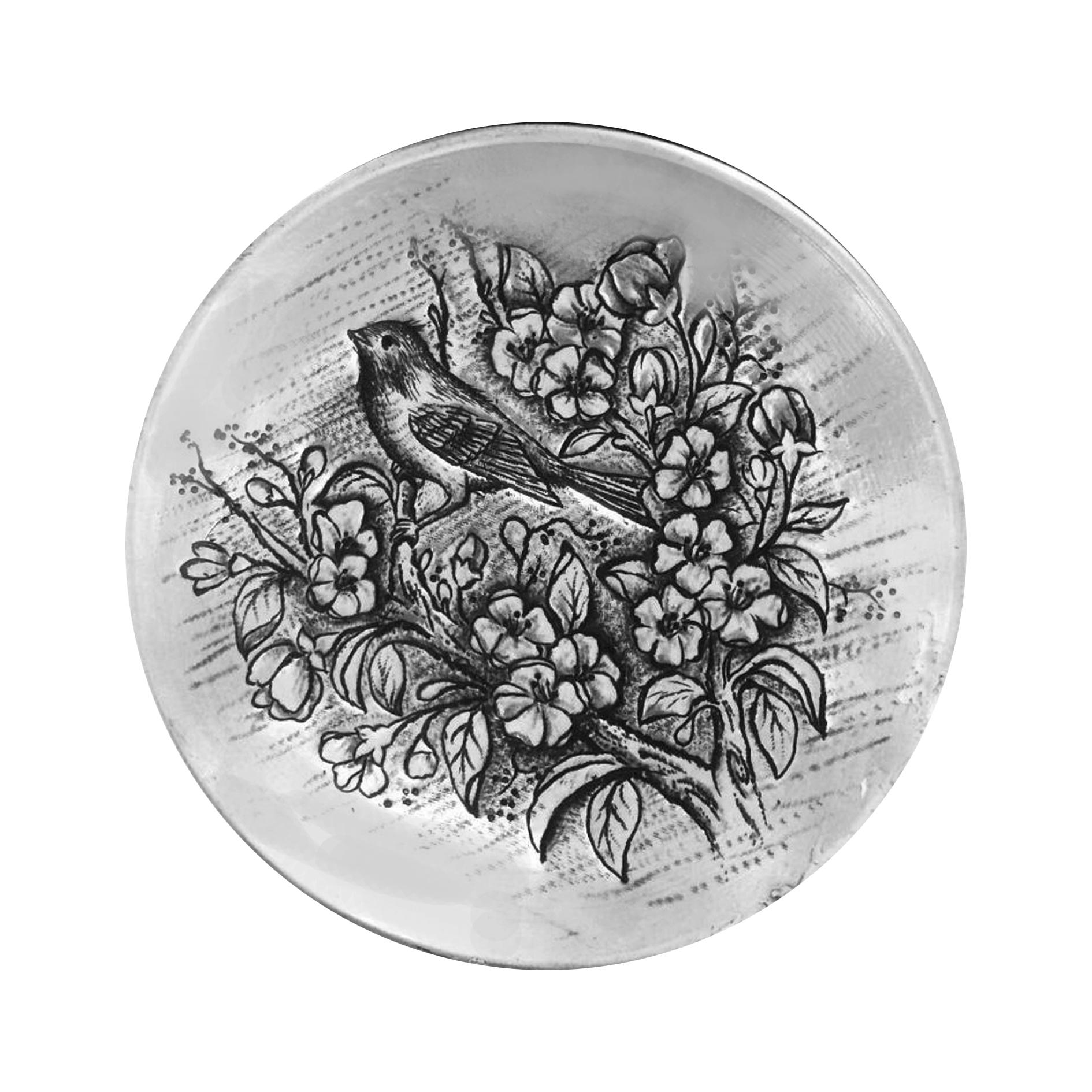 بشقاب دیوارکوب قلمزنی طرح گل و مرغ کد 1