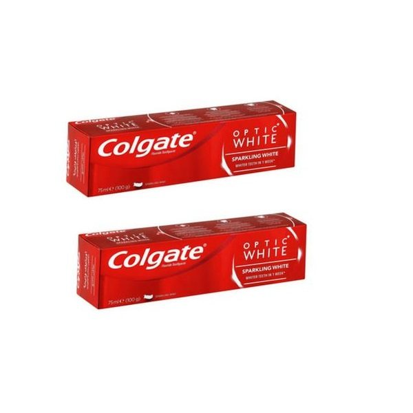 خمیر دندان کلگیت سری Optic White مدل SPARKLING WHITE حجم 75 میلی لیتر مجموعه 2 عددی